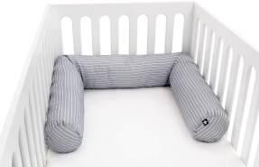 Julius Zöllner 8281069320 Nestchenschlange für Babybett , 180 cm Durchmesser 14 cm, Jersey-Baumwolle, Standard 100 by OEKO-Tex, Grey Stripes, grau