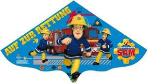Paul Günther 1217 - Kinderdrachen mit Feuerwehrmann Sam Motiv, Einleinerdrachen aus robuster PE-Folie für Kinder ab 4 Jahre mit Wickelgriff und Schnur, ca. 115 x 63 cm groß