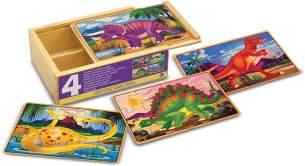Melissa & Doug 4 verschiedene Holzpuzzle - Dinosaurier (48 Teile)