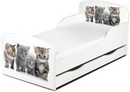 Leomark Kinderbett 70x140 cm, Kätzchen, mit Matratze, Schublade und Lattenrost