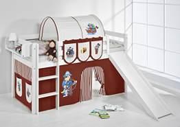 Lilokids 'Jelle' Spielbett 90 x 200 cm, Pirat Braun Beige, Kiefer massiv, mit Rutsche und Vorhang