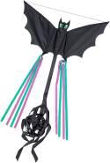 HQ 100039 - Bat Black 'S' Kinderdrachen Einleiner, ab 5 Jahren, 30x60cm, inkl. 10kp Polyesterschnur 25m auf Griff, 2-4 Beaufort