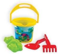 Mochtoys Sandspielzeug Set 10308 mit Eimer, Sandform, Rechen und Sandschaufel