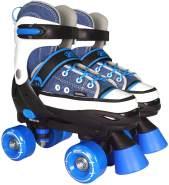 Best Sporting Rollschuhe für Kinder und Jugendliche, Größe verstellbar, ABEC 7 Carbon, blau-weiß blau/weiß, 32 - 35