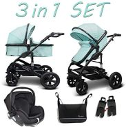 Cynebaby Kombi-Kinderwagen 3in1 (Kombi-Kinderwagen 3in1 mit Babyschale mint)