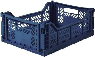 AY-KASA dunkelblaue, Faltbare Aufbewahrungsbox mit 40x30x14,5 cm und 8 Liter Volumen - Bunte Klappbox zum Einkaufen und Aufbewahren - Stabile Faltbox aus Plastik - Organizer Box