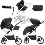 Friedrich Hugo Easy Comfort | 4 in 1 Kombi Kinderwagen + ISOFIX | Farbe: Black & Leatherette