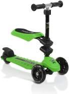 Byox Kinderroller Pop 2 in 1, Roller u. Laufrad, 3 PU Räder, ab 3 Jahre, Alu, Farbe:grün