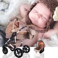 Bebebi myVARIO | 3 in 1 Kombi Kinderwagen Komplettset | Luftreifen | Farbe: myGold