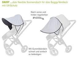 PRIEBES DAISY Sonnendach UV-Schutz 50+ | Sonnensegel Sonnenschutz Sonnenverdeck für Sportwagen, Buggys, Kinderwagen | 100% Baumwolle | beidseitig verwendbar, Design:stars grau