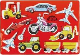Lena 65773, 2er Zeichenschablonen Set Menschen, 2 Schablonen und Farbvorlagen mit Fahrzeugen und Personen Motiven, Malschablonen je ca. 26 x 19 cm, Malset für Kinder ab 3 Jahre