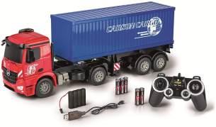 Carson 500907317 500907317-1:20 MB Arocs mit Container 2.4G 100% RTR, Ferngesteuertes Fahrzeug, Lastwagen mit Funktionen Licht und Sound, inkl. Batterien und 2,4Ghz Fernsteuerung, rot,blau