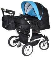 Adbor Duo 3in1 Zwillingskinderwagen mit Babyschalen - weißes Gestell, Zwillingswagen, Zwillingsbuggy Farbe Nr. 32w schwarz/himmelblau