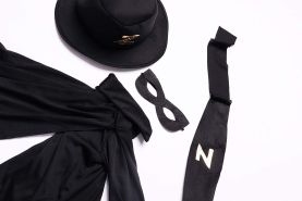 Folat 21895 Zorro-Kostüm, 5-teilig, Kinder Größe 116/134, Schwarz, 116-134 cm