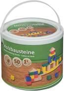 Idena 40029 Holzbausteine in verschiedenen Farben und Formen, ab 12 Monaten, 50 Stück im Eimer