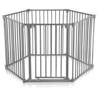 Baby Vivo Kaminschutzgitter Kinderlaufgitter Laufstall mit Tür und Absperrgitter Ofengitter Treppenschutzgitter Türschutzgitter Raumteiler 5+1 mit Tür in Stahlgrau (5 Elemente und eine Tür) - PREMIUM