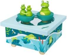 Trousselier - Frosch & Babys - Tanzende Musikbox - Spieluhr - Ideales Geburtsgeschenk - 2 abnehmbare Figuren - Einfache Bedienung - Sound of Silence Musik von Simon & Garfunkel - Farbe blau