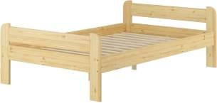 Erst-Holz Breites robustes Einzelbett 120x200 Kiefer massiv V-60.39-12 Rollrost inkl.
