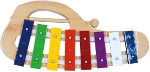 Bino & Mertens 86557-Xylophon aus Holz, mit 8 bunten Metall-Klangplatten und 1 Klöppel. Für die ersten Versuche zu musizieren. Das Klangspiel bereitet Eltern und den Kleinen Vergnügen, 31x15,5x2,5 cm.