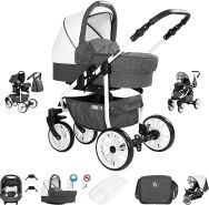 Friedrich Hugo Berlin | 3 in 1 Kombi Kinderwagen Komplettset | Luftreifen | Farbe: Dark Grey and White Day