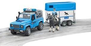 Bruder 02588 Land Rover Defender Polizeifahrzeug, Pferdeanhänger, 1 Pferd und Polizist