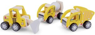 New Classic Toys Baufahrzeuge Junior Holz gelb 3-teilig