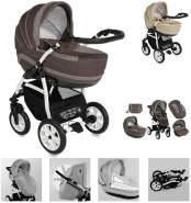 Lorelli Kinderwagen 3 in 1 KARA Luftreifen, Autositz, Regenschutz, Wickeltasche, Farbe:braun