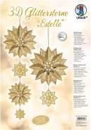 Ursus 33770000 - Glitterstern 3D Estelle, Material für 3 Sterne, gold