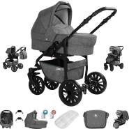 Friedrich Hugo Berlin | 3 in 1 Kombi Kinderwagen Komplettset | Luftreifen | Farbe: Grey and Grey Night