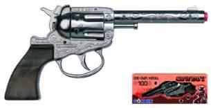 Gonher 03.09.290 - Revolver Zar 100-Schuss 18 cm, Zink, mit Langlauf