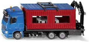 SIKU 3556, LKW mit Baucontainer, 1:50, Metall/Kunststoff, Blau/Rot, Inkl. Kran zum Abnehmen des Containers