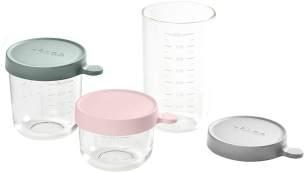 BÉABA - 3-er Set Glas - Aufbewahrungsbehälter für Babynahrung - Skalierung - Temperaturbeständig - Aufbewahrungsbehälter für Babys und Kleinkinder - 150 ml + 250 ml + 400 ml - Gelb/Blau/Dunkelblau