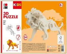 Marabu 317000000022 - KiDS 3D Holzpuzzle Löwe, mit 34 Puzzleteilen aus FSC-zertifiziertem Holz, ca. 19,5 x 13 cm groß, einfache Stecktechnik, zum individuellen Bemalen und Gestalten