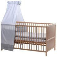 BABY-PLUS Komplettes Kinderbett Lines natur - grau mit weißen Punkten