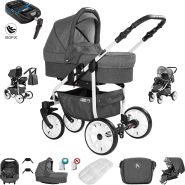 Friedrich Hugo Berlin | 4 in 1 Kombi Kinderwagen + ISOFIX | GEL Reifen | Farbe: Dark Grey and Grey Day