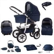 Bebebi Bellami | ISOFIX Basis & Autositz | 4 in 1 Kombi Kinderwagen | Hartgummireifen | Farbe: Bellablue