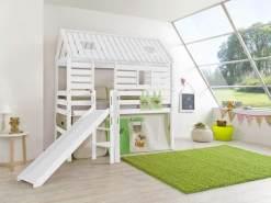 Relita 'Tom´s Hütte' Hochbett inkl. Stoffset 'Dschungel' und Matratze