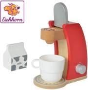 Eichhorn 100002489 - Kaffeemaschine aus Holz, inkl. Tasse, Milchbox und 1x Kaffeepad, 4-tlg., 12x18,5x20,5cm, Birkenholz