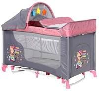 Lorelli 'Moonlight' Reisebett 60x120 cm, pink, zwei Ebenen, Schaukelfunktion, Matratze, Wickelauflage