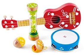 Hape E0339 Mini-Band Set - Ukulele, Tamburin, Kastagnette, Rassel und Regenmacher