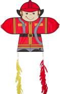 HQ 100402 - Skymate Kite Fireman Kinderdrachen Einleiner, ab 5 Jahren, 64x71cm und 2x100cm Drachenschwanz, inkl. 17kp Polyesterschnur 60m auf Spule, 2-5 Beaufort