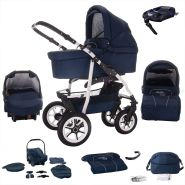 Bebebi Bellami | ISOFIX Basis & Autositz | 4 in 1 Kombi Kinderwagen | Luftreifen | Farbe: Bellablue