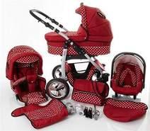 Kinderwagen 3in1 2in1 Set Isofix Buggy Babywanne Autositz D-Deluxe by SaintBaby Rot & Weiße Punkte 2in1 ohne Babyschale