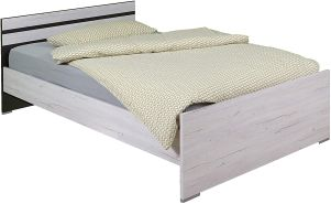 Wimex Bett/ Doppelbett Cariba, (B/H/T) 72 x 205 x 96 cm, Weißeiche/ Absetzung Lavafarbig