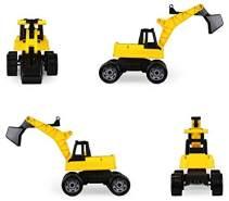 Lena 2017 Starke Riesen Bagger, Baufahrzeug ca. 80 cm, Giga Truck Schaufelbagger mit 2 Stahlachsen, großer Spielzeugbagger in gelb und schwarz, Baggerfahrzeug für Kinder ab 3 Jahre