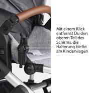 ABC Design Universal Sonnenschirm Sunny – für Kinderwagen und Buggy – UV-Schutz 50+ – Universalhalterung für Rund- und Ovalrohre – Farbe: asphalt