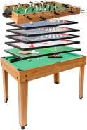 Tischkicker HWC-J15, Tischfußball Billard Hockey 7in1 Multiplayer Spieletisch, MDF 82x107x60cm ~ Eiche-Optik