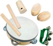 Bino & Mertens 86550 Musikinstrumente-Satz, 8tlg, mehrfarbig. Bestehend aus Tamburin, 18 cm, mit 2 Klöppelstöckchen, Handgelenkschelle und 2 Rumbakugeln, für kleine Musiker