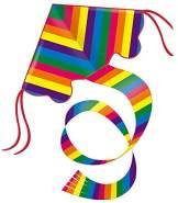 Paul Günther 1159 - Einleinerdrachen Rainbow, farbenprächtiger Drachen mit 1,5 m langem Schwanz, mit Wickelgriff und Schnur, ca. 98 x 54 cm groß