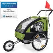 SAMAX Fahrradanhänger Jogger 2in1 Anhänger in Grün/Schwarz - Silver Frame